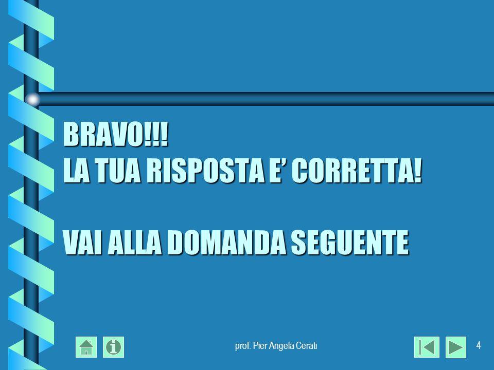 prof. Pier Angela Cerati4 BRAVO!!! LA TUA RISPOSTA E CORRETTA! VAI ALLA DOMANDA SEGUENTE