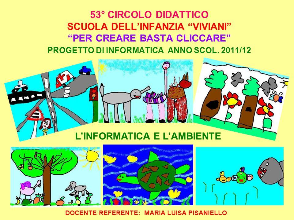 53° CIRCOLO DIDATTICO SCUOLA DELLINFANZIA VIVIANI PER CREARE BASTA CLICCARE PROGETTO DI INFORMATICA ANNO SCOL. 2011/12 DOCENTE REFERENTE: MARIA LUISA
