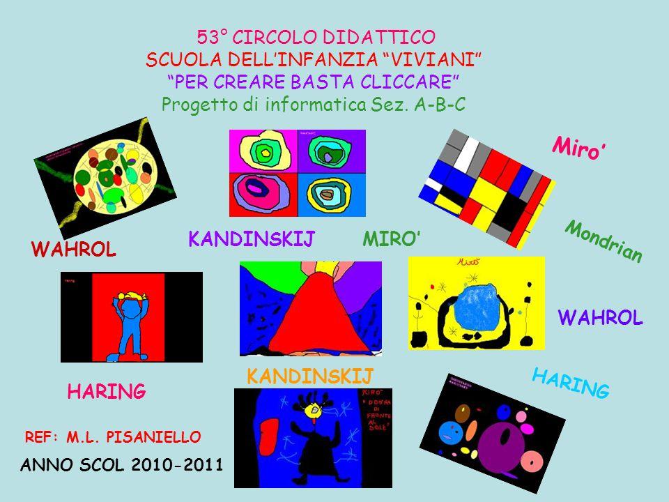 53° CIRCOLO DIDATTICO SCUOLA DELLINFANZIA VIVIANI PER CREARE BASTA CLICCARE Progetto di informatica Sez. A-B-C ANNO SCOL 2010-2011 REF: M.L. PISANIELL