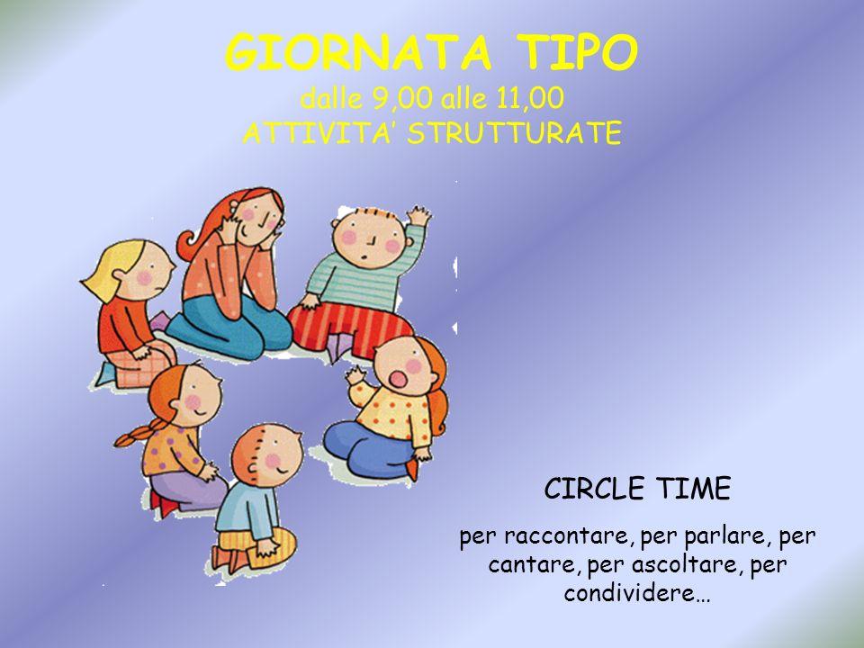 GIORNATA TIPO dalle 9,00 alle 11,00 ATTIVITA STRUTTURATE CIRCLE TIME per raccontare, per parlare, per cantare, per ascoltare, per condividere…