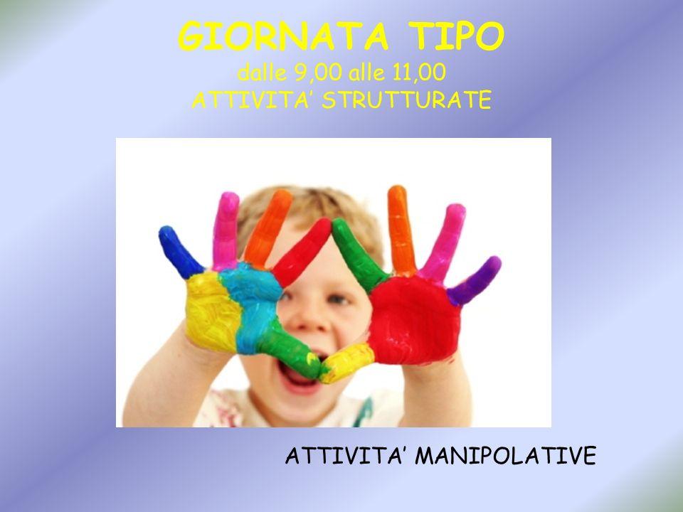 GIORNATA TIPO dalle 9,00 alle 11,00 ATTIVITA STRUTTURATE ATTIVITA MANIPOLATIVE