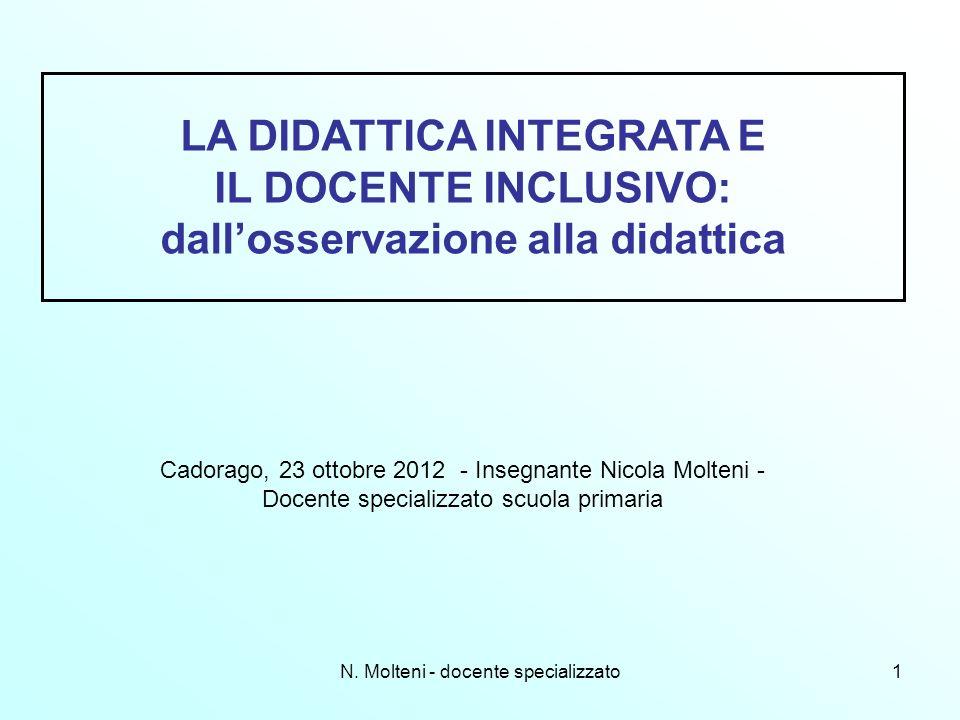 N. Molteni - docente specializzato1 Cadorago, 23 ottobre 2012 - Insegnante Nicola Molteni - Docente specializzato scuola primaria LA DIDATTICA INTEGRA