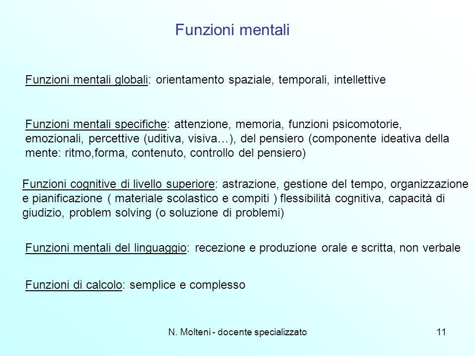 N. Molteni - docente specializzato11 Funzioni mentali Funzioni mentali globali: orientamento spaziale, temporali, intellettive Funzioni mentali specif