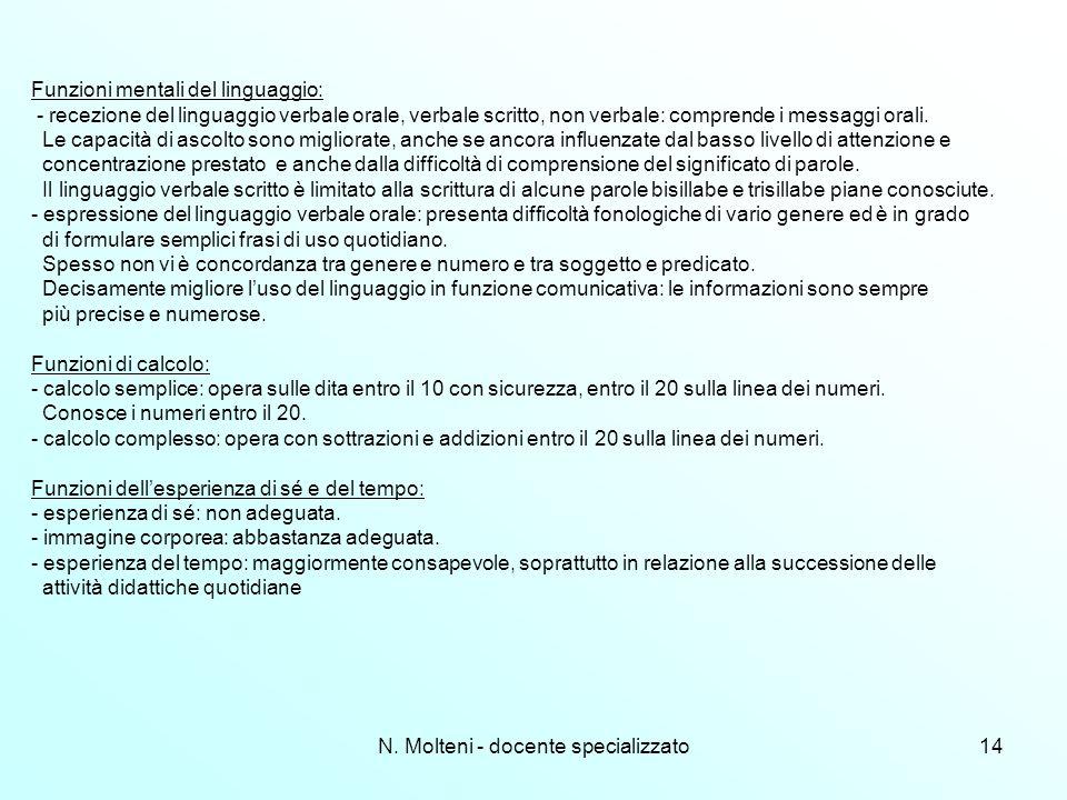 N. Molteni - docente specializzato14 Funzioni mentali del linguaggio: - recezione del linguaggio verbale orale, verbale scritto, non verbale: comprend