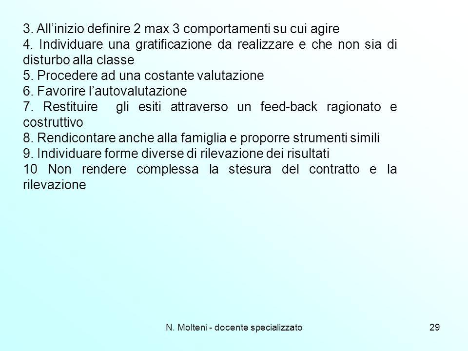 N. Molteni - docente specializzato29 3. Allinizio definire 2 max 3 comportamenti su cui agire 4. Individuare una gratificazione da realizzare e che no