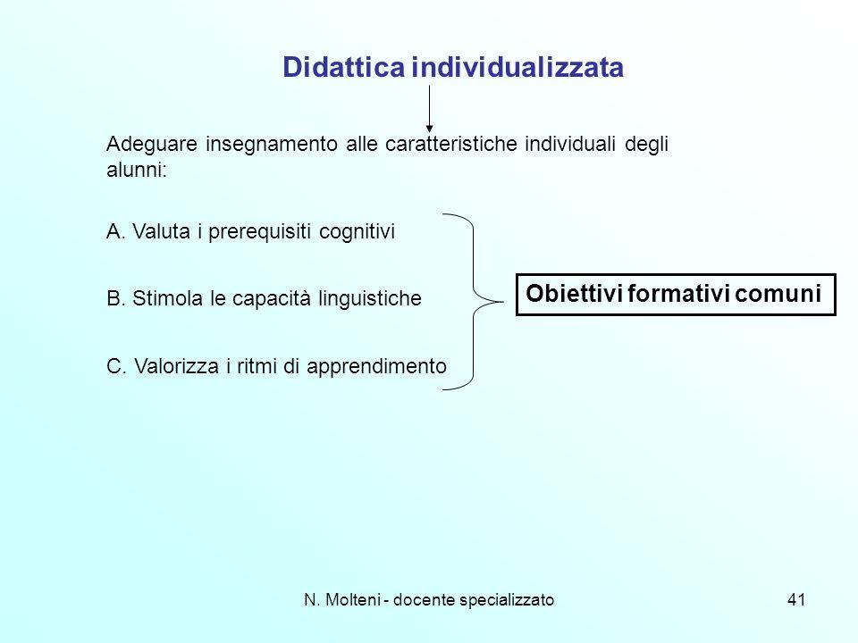 N. Molteni - docente specializzato41 Didattica individualizzata Adeguare insegnamento alle caratteristiche individuali degli alunni: A. Valuta i prere