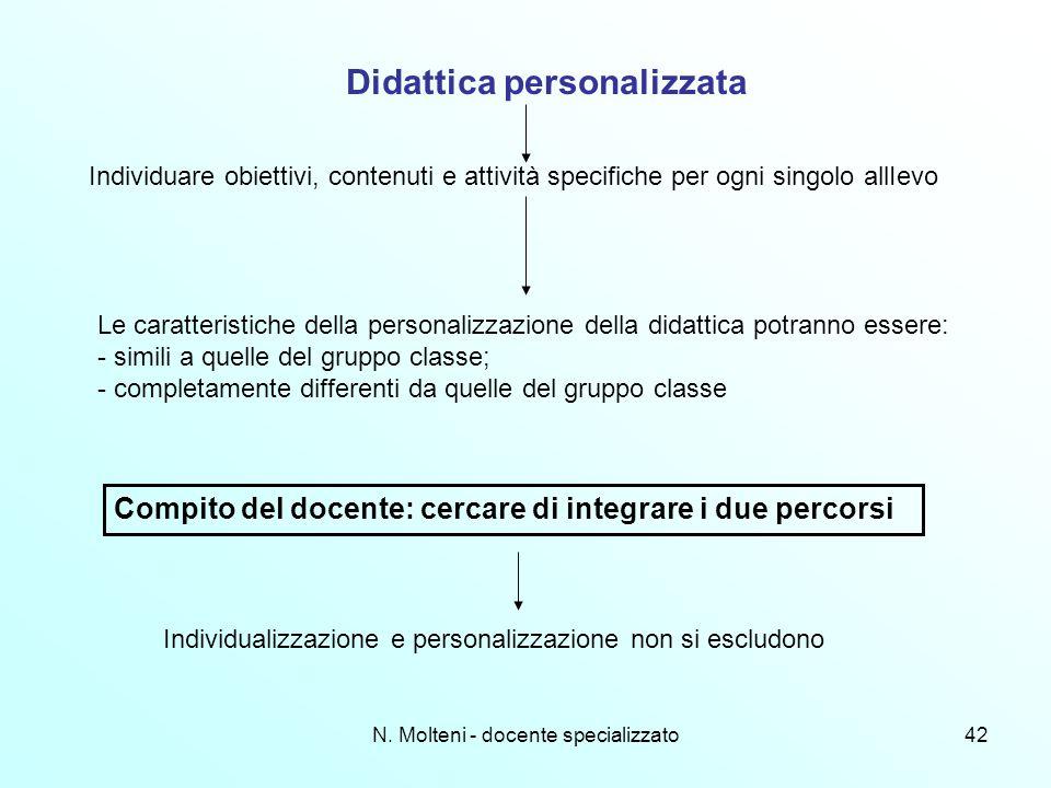 N. Molteni - docente specializzato42 Didattica personalizzata Individuare obiettivi, contenuti e attività specifiche per ogni singolo allIevo Le carat