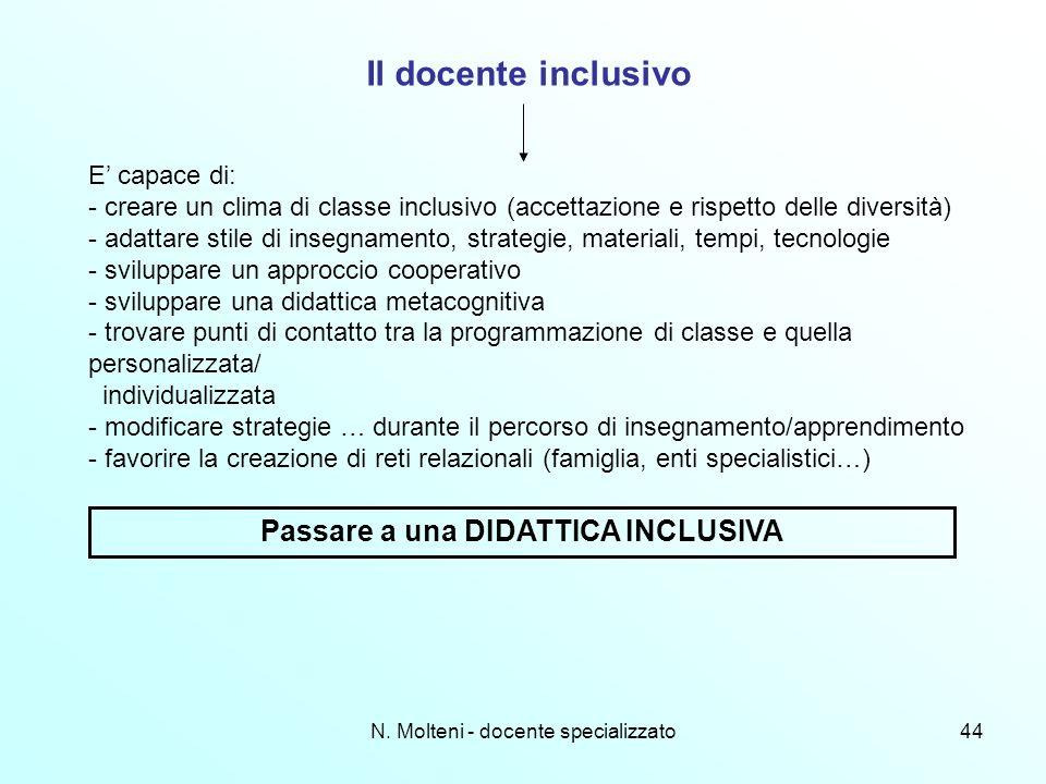 N. Molteni - docente specializzato44 Il docente inclusivo E capace di: - creare un clima di classe inclusivo (accettazione e rispetto delle diversità)