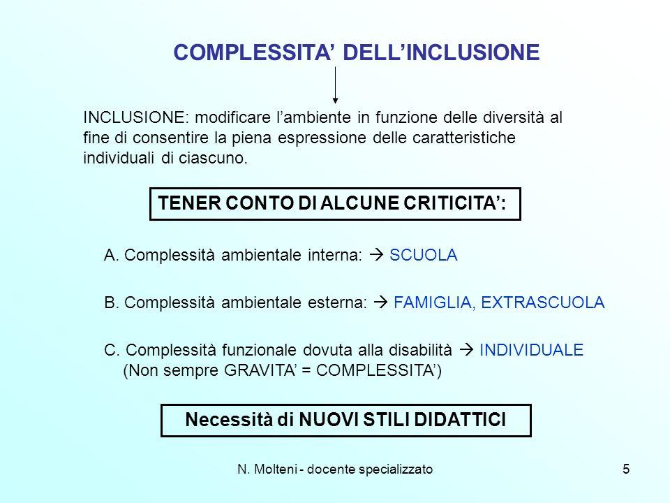 5 COMPLESSITA DELLINCLUSIONE INCLUSIONE: modificare lambiente in funzione delle diversità al fine di consentire la piena espressione delle caratterist