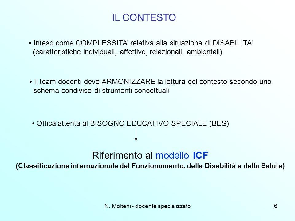 N. Molteni - docente specializzato6 IL CONTESTO Inteso come COMPLESSITA relativa alla situazione di DISABILITA (caratteristiche individuali, affettive