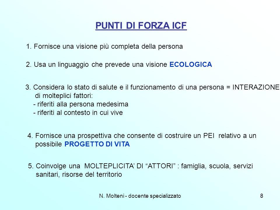N. Molteni - docente specializzato8 PUNTI DI FORZA ICF 1. Fornisce una visione più completa della persona 2. Usa un linguaggio che prevede una visione