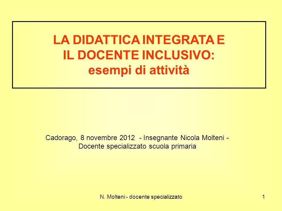 N. Molteni - docente specializzato1 Cadorago, 8 novembre 2012 - Insegnante Nicola Molteni - Docente specializzato scuola primaria LA DIDATTICA INTEGRA