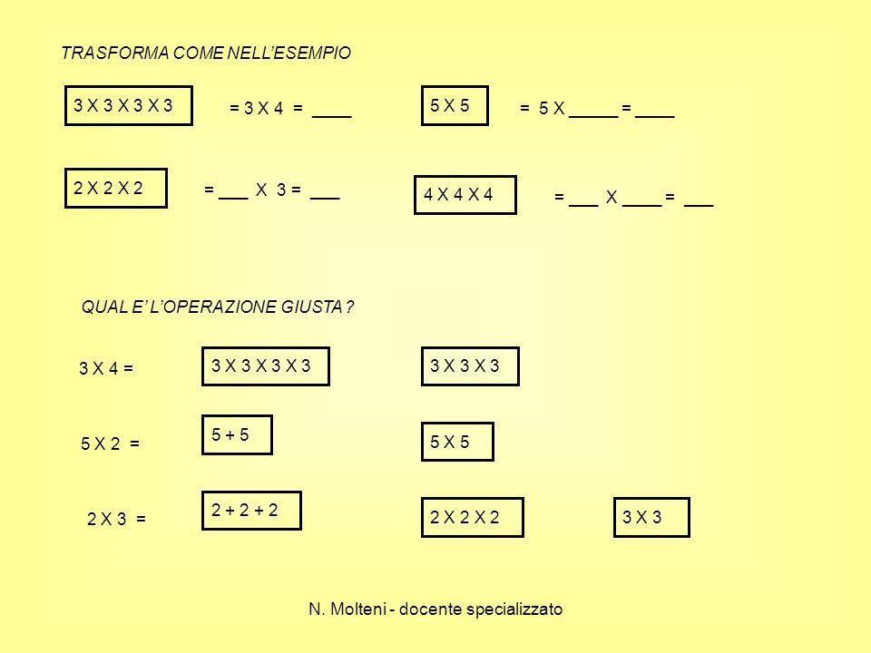 TRASFORMA COME NELLESEMPIO 3 X 3 X 3 X 3 = 3 X 4 = ____ 5 X 5 = 5 X _____ = ____ 2 X 2 X 2 = ___ X 3 = ___ 4 X 4 X 4 = ___ X ____ = ___ QUAL E LOPERAZ