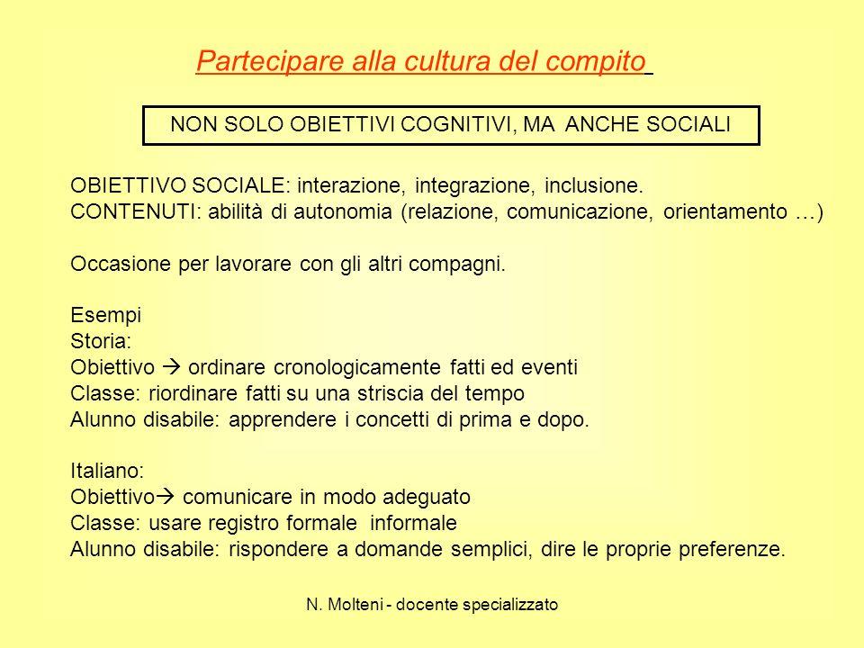 Partecipare alla cultura del compito NON SOLO OBIETTIVI COGNITIVI, MA ANCHE SOCIALI OBIETTIVO SOCIALE: interazione, integrazione, inclusione. CONTENUT