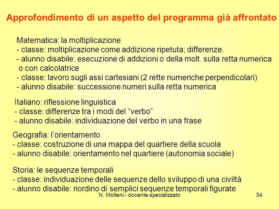 N. Molteni - docente specializzato34 Approfondimento di un aspetto del programma già affrontato Matematica: la moltiplicazione - classe: moltiplicazio