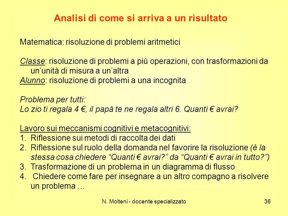 N. Molteni - docente specializzato36 Analisi di come si arriva a un risultato Matematica: risoluzione di problemi aritmetici Classe: risoluzione di pr