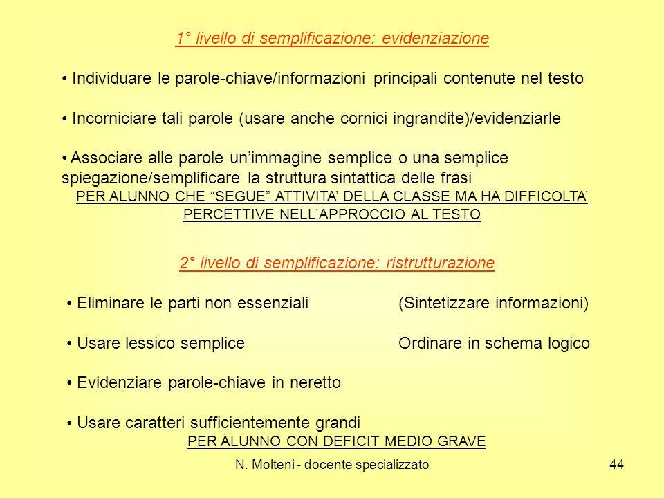 N. Molteni - docente specializzato44 1° livello di semplificazione: evidenziazione Individuare le parole-chiave/informazioni principali contenute nel