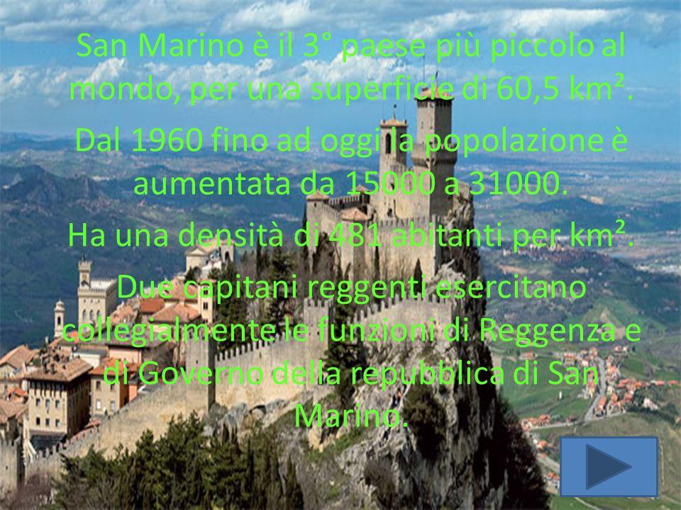 REPUBBLICA DI SAN MARINO San Marino è il 3° paese più piccolo al mondo, per una superficie di 60,5 km². Dal 1960 fino ad oggi la popolazione è aumenta