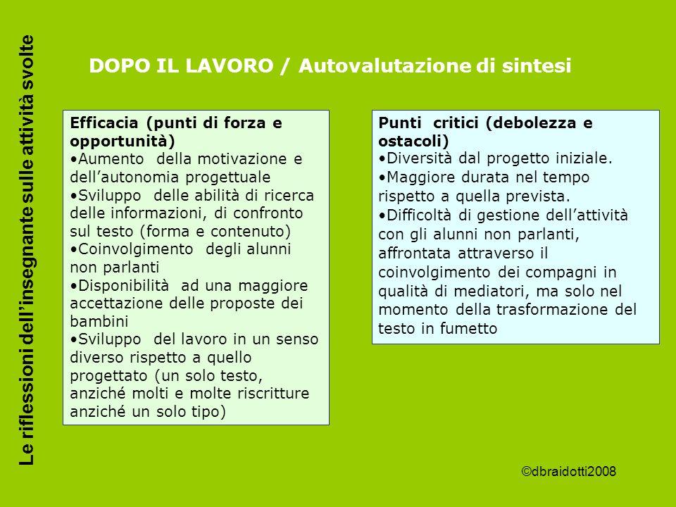 DOPO IL LAVORO / Autovalutazione di sintesi Efficacia (punti di forza e opportunità) Aumento della motivazione e dellautonomia progettuale Sviluppo de