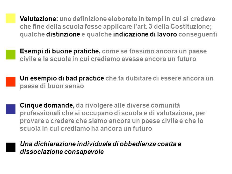 Esempi di buone pratiche, come se fossimo ancora un paese civile e la scuola in cui crediamo avesse ancora un futuro Cinque domande, da rivolgere alle