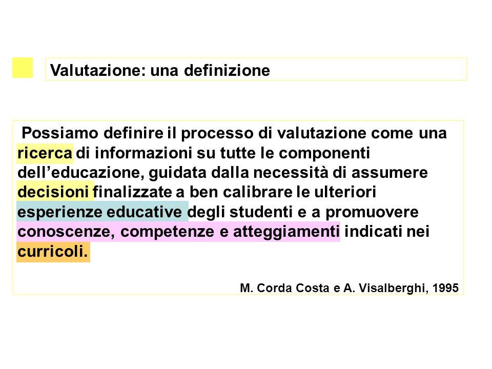 Valutazione: una definizione Possiamo definire il processo di valutazione come una ricerca di informazioni su tutte le componenti delleducazione, guid