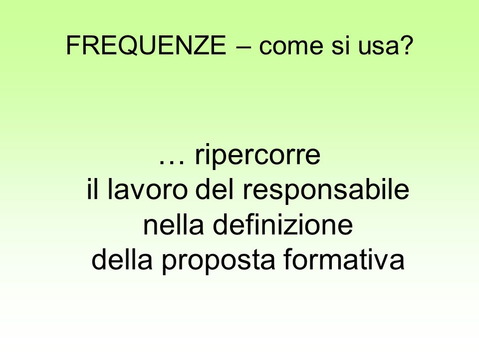 FREQUENZE – come si usa.