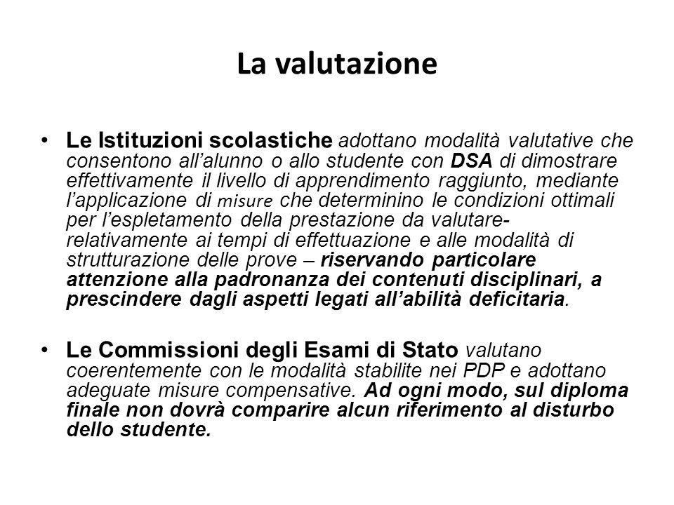 La valutazione Le Istituzioni scolastiche adottano modalità valutative che consentono allalunno o allo studente con DSA di dimostrare effettivamente i