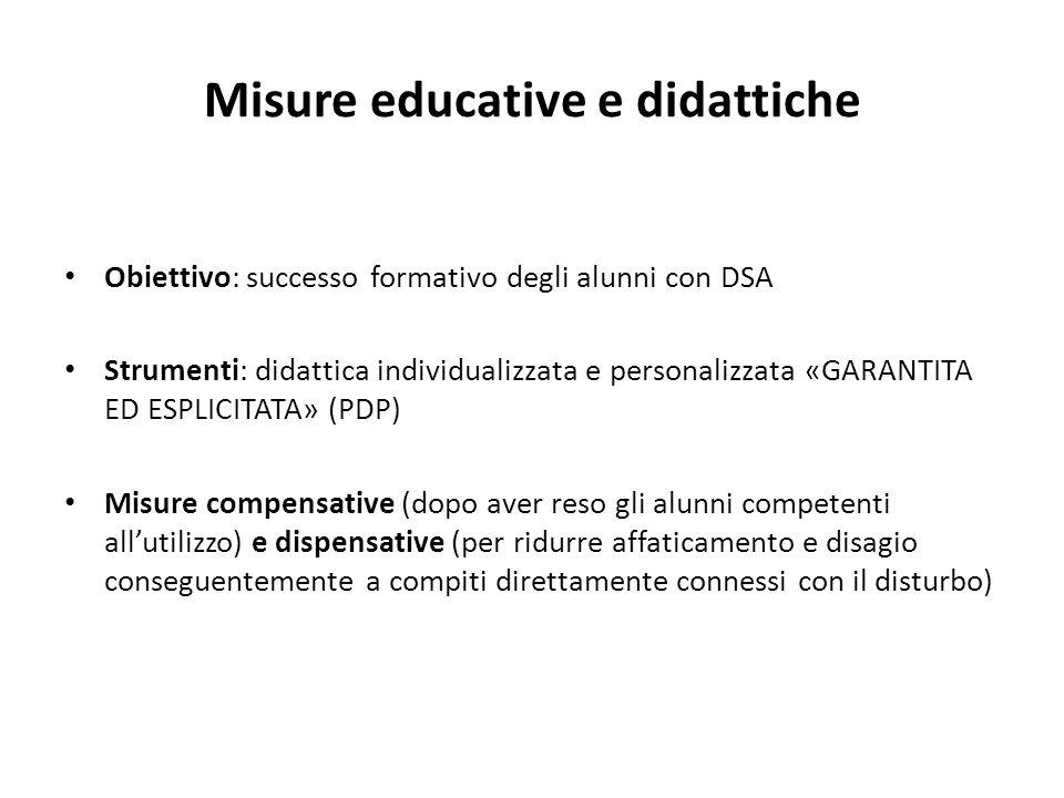 Misure educative e didattiche Obiettivo: successo formativo degli alunni con DSA Strumenti: didattica individualizzata e personalizzata «GARANTITA ED