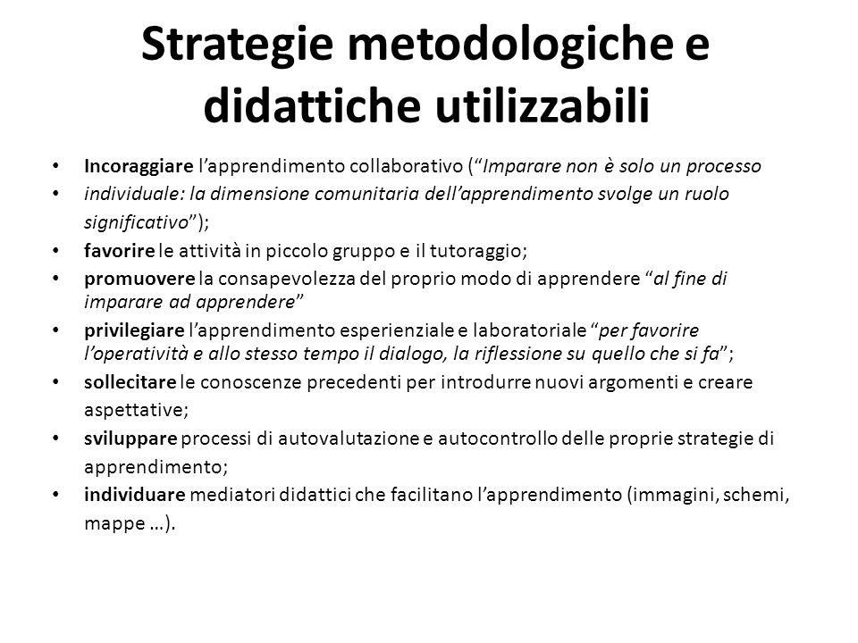 Strategie metodologiche e didattiche utilizzabili Incoraggiare lapprendimento collaborativo (Imparare non è solo un processo individuale: la dimension