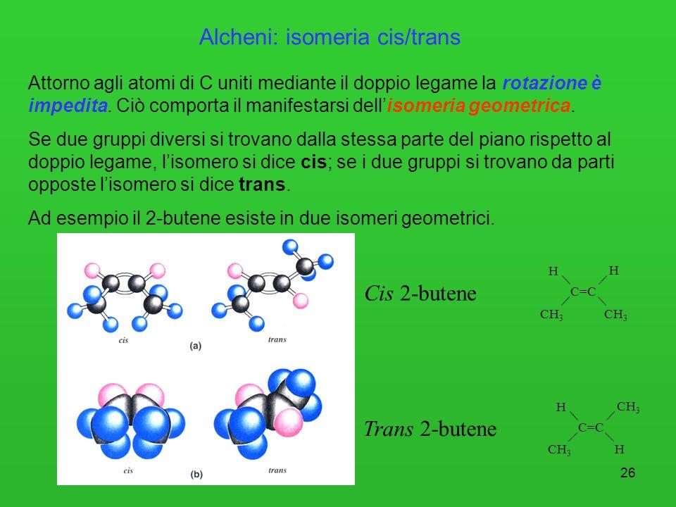 26 Alcheni: isomeria cis/trans Attorno agli atomi di C uniti mediante il doppio legame la rotazione è impedita. Ciò comporta il manifestarsi dellisome