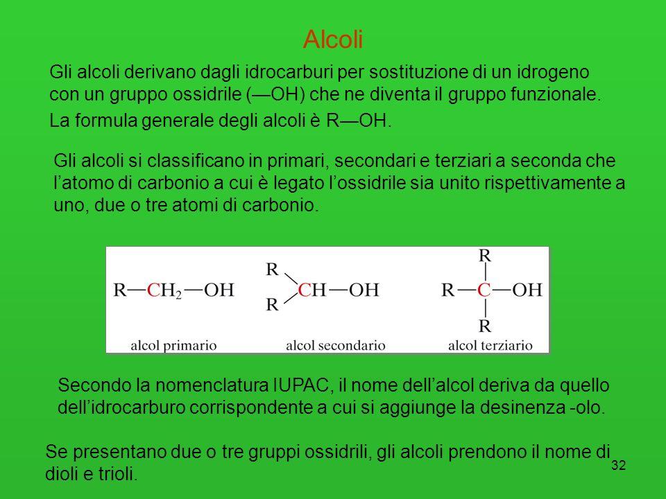 32 Alcoli Gli alcoli si classificano in primari, secondari e terziari a seconda che latomo di carbonio a cui è legato lossidrile sia unito rispettivam
