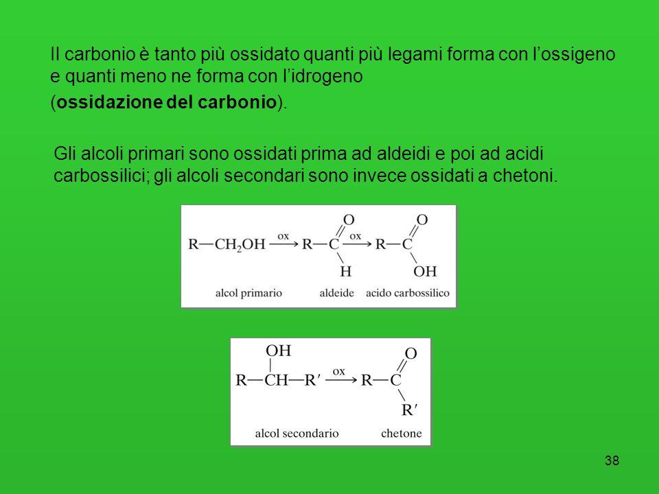 38 Il carbonio è tanto più ossidato quanti più legami forma con lossigeno e quanti meno ne forma con lidrogeno (ossidazione del carbonio). Gli alcoli