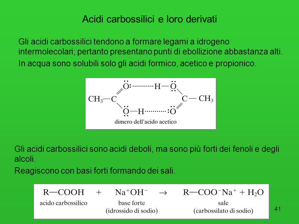 41 Acidi carbossilici e loro derivati Gli acidi carbossilici tendono a formare legami a idrogeno intermolecolari; pertanto presentano punti di ebolliz