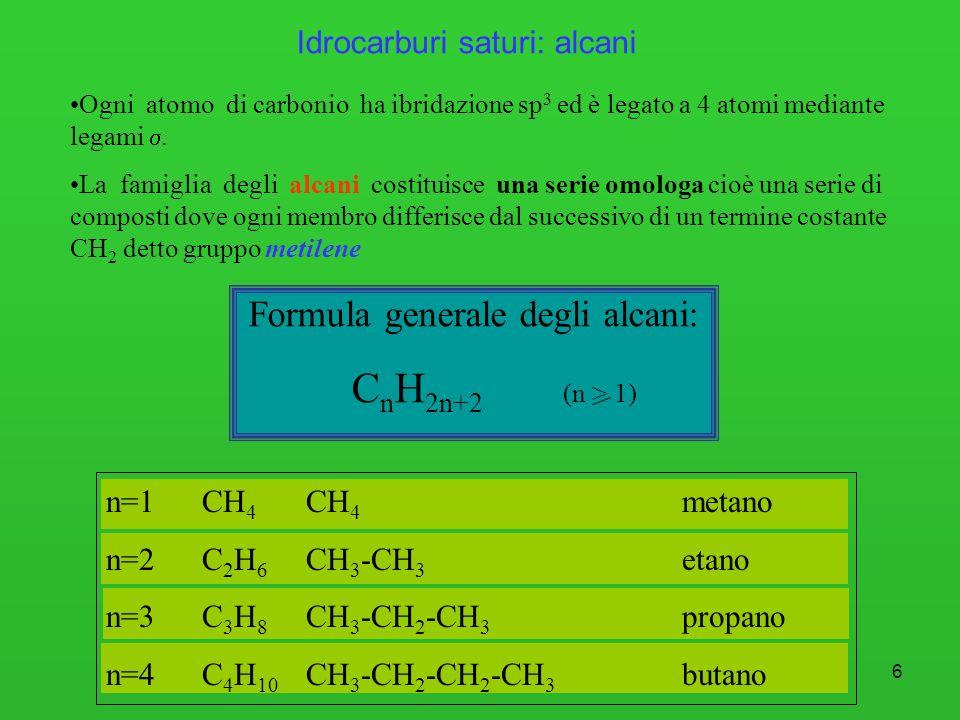 6 Idrocarburi saturi: alcani Ogni atomo di carbonio ha ibridazione sp 3 ed è legato a 4 atomi mediante legami. La famiglia degli alcani costituisce un