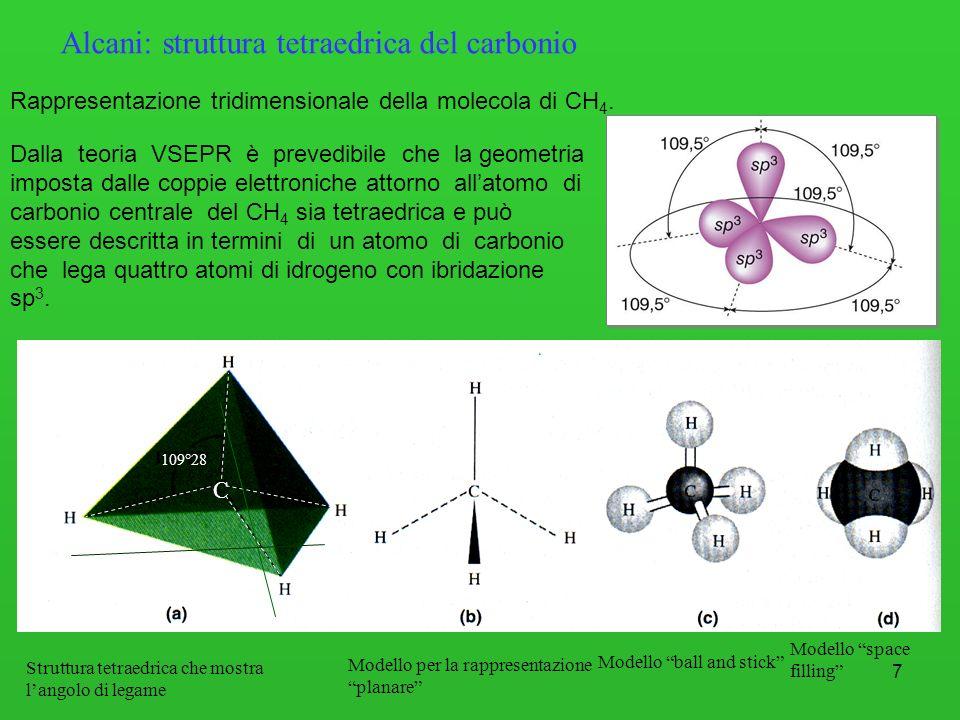 7 C 109°28 Alcani: struttura tetraedrica del carbonio Rappresentazione tridimensionale della molecola di CH 4. Dalla teoria VSEPR è prevedibile che la