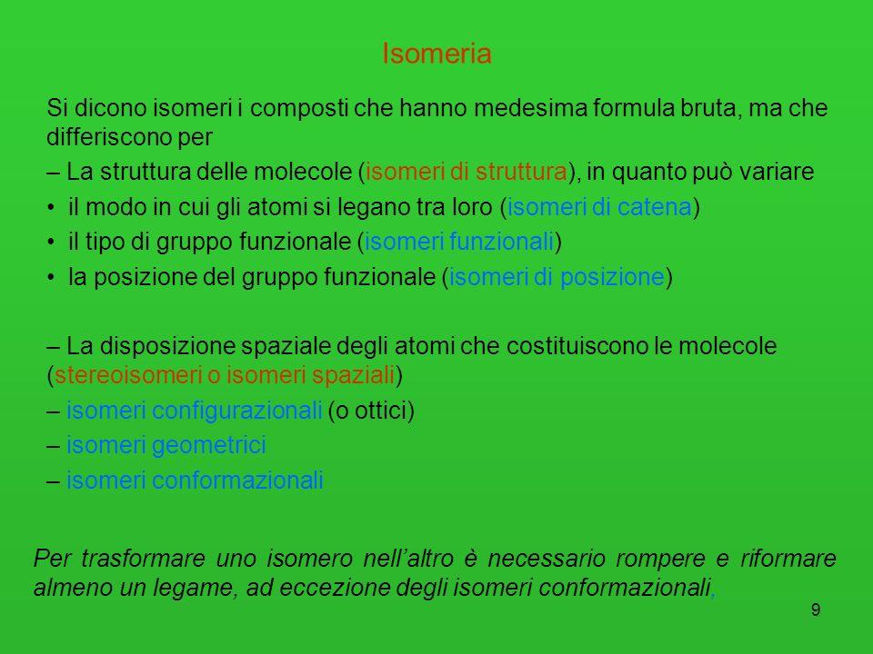 9 Isomeria Si dicono isomeri i composti che hanno medesima formula bruta, ma che differiscono per – La struttura delle molecole (isomeri di struttura)