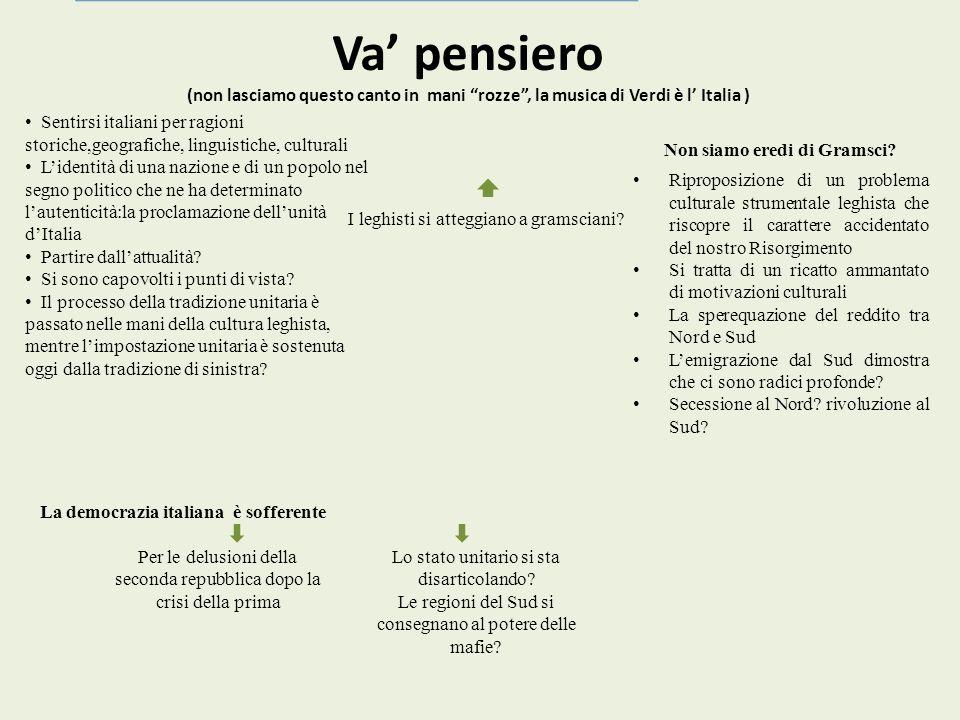 Va pensiero (non lasciamo questo canto in mani rozze, la musica di Verdi è l Italia ) Sentirsi italiani per ragioni storiche,geografiche, linguistiche