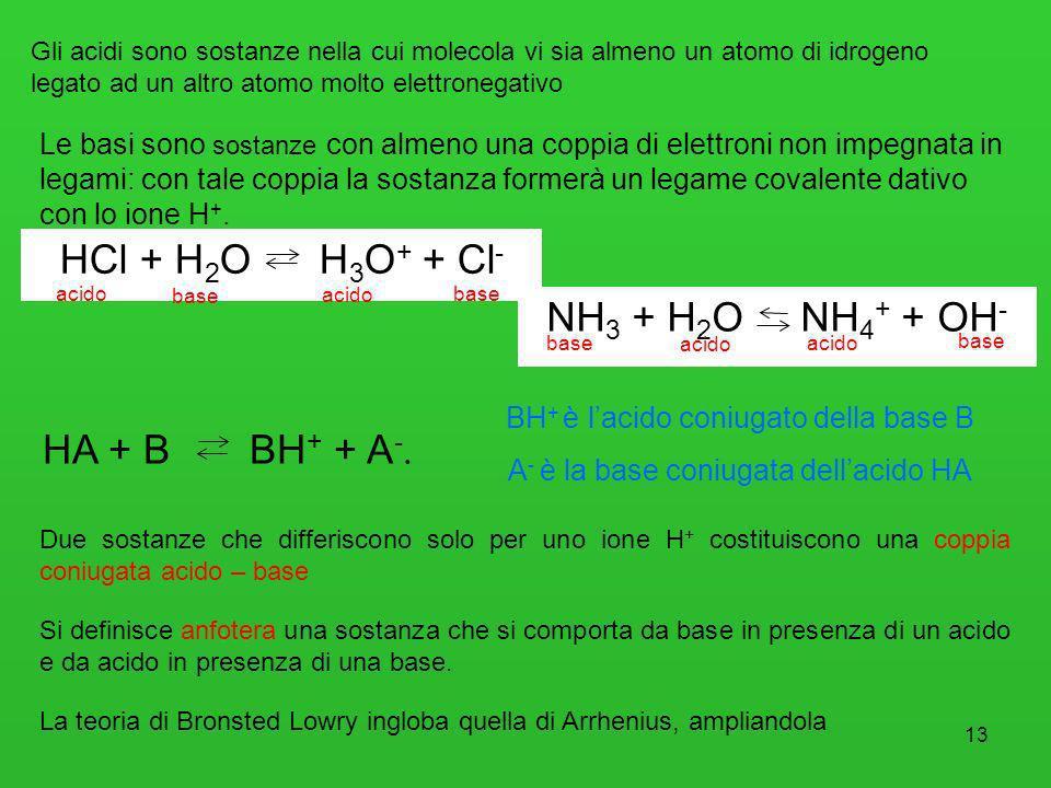 13 Gli acidi sono sostanze nella cui molecola vi sia almeno un atomo di idrogeno legato ad un altro atomo molto elettronegativo Le basi sono sostanze