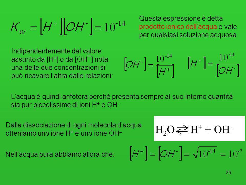 23 Questa espressione è detta prodotto ionico dellacqua e vale per qualsiasi soluzione acquosa Dalla dissociazione di ogni molecola dacqua otteniamo u