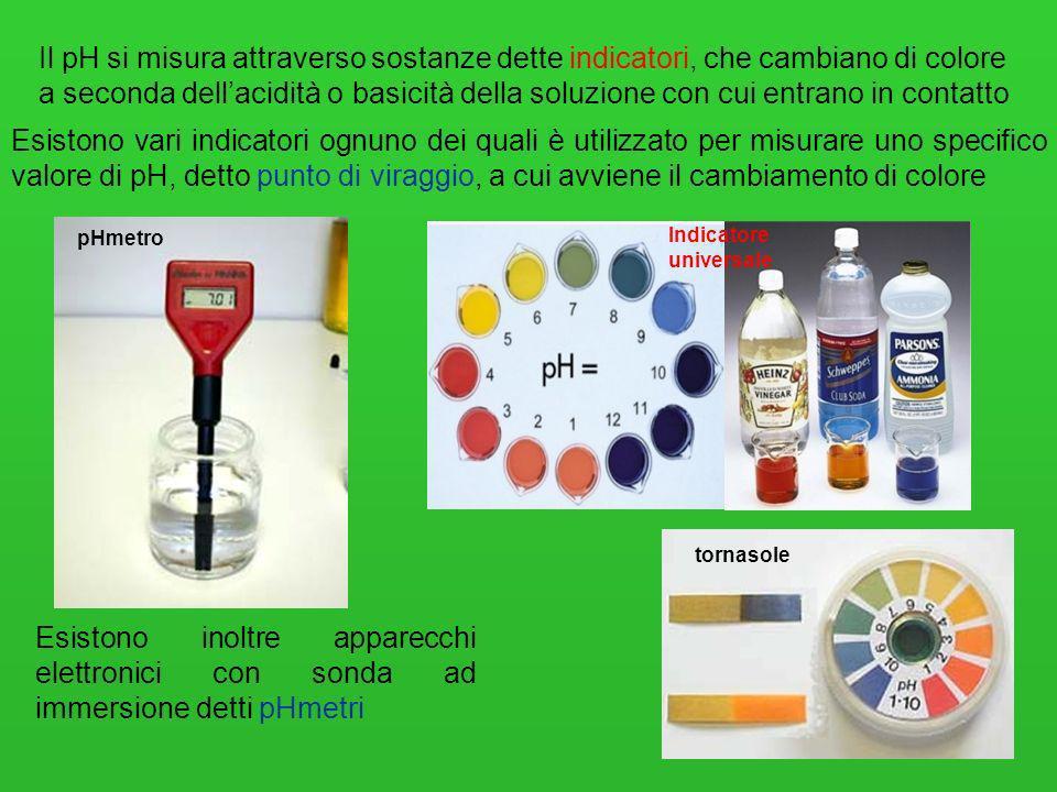 26 Il pH si misura attraverso sostanze dette indicatori, che cambiano di colore a seconda dellacidità o basicità della soluzione con cui entrano in co