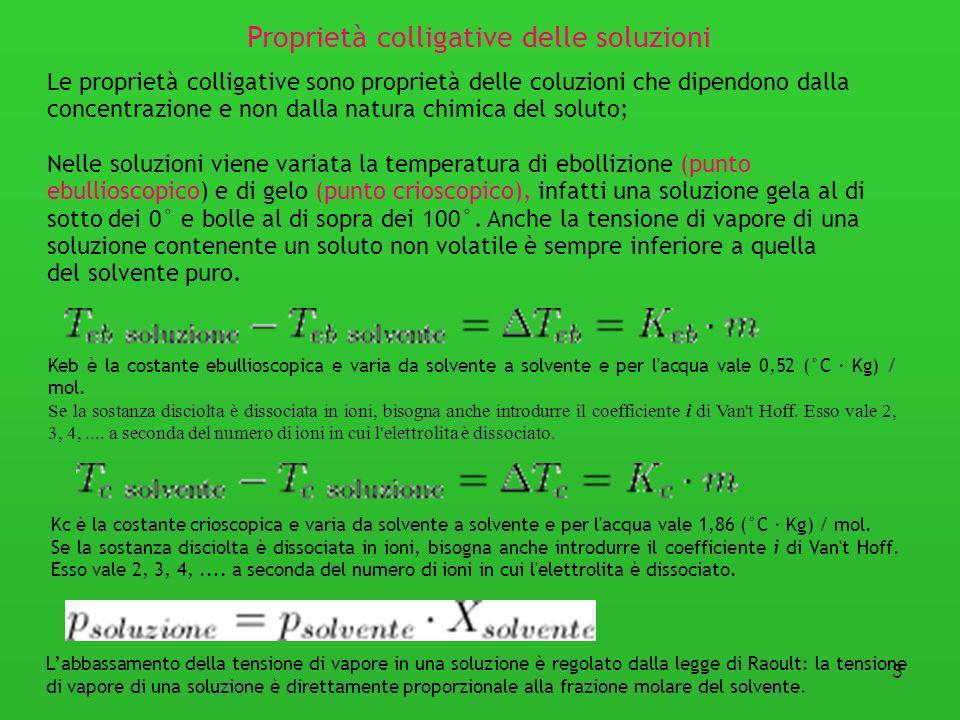 3 Le proprietà colligative sono proprietà delle coluzioni che dipendono dalla concentrazione e non dalla natura chimica del soluto; Nelle soluzioni vi