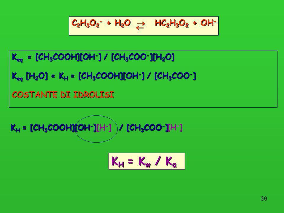 39 C 2 H 3 O 2 - + H 2 O HC 2 H 3 O 2 + OH - K eq = [CH 3 COOH][OH - ] / [CH 3 COO - ][H 2 O] K eq [H 2 O] = K H = [CH 3 COOH][OH - ] / [CH 3 COO - ]