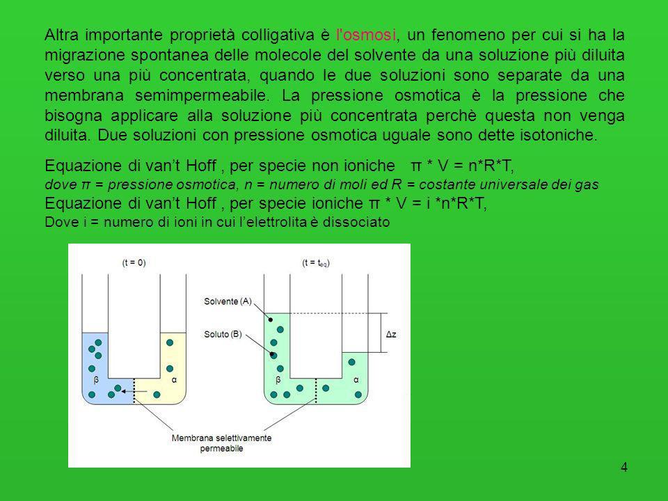 4 Altra importante proprietà colligativa è l'osmosi, un fenomeno per cui si ha la migrazione spontanea delle molecole del solvente da una soluzione pi