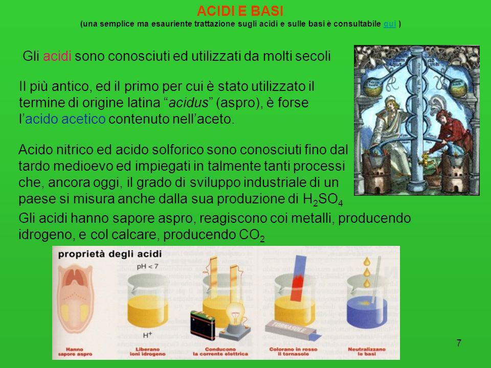 7 ACIDI E BASI (una semplice ma esauriente trattazione sugli acidi e sulle basi è consultabile qui )qui Gli acidi sono conosciuti ed utilizzati da mol