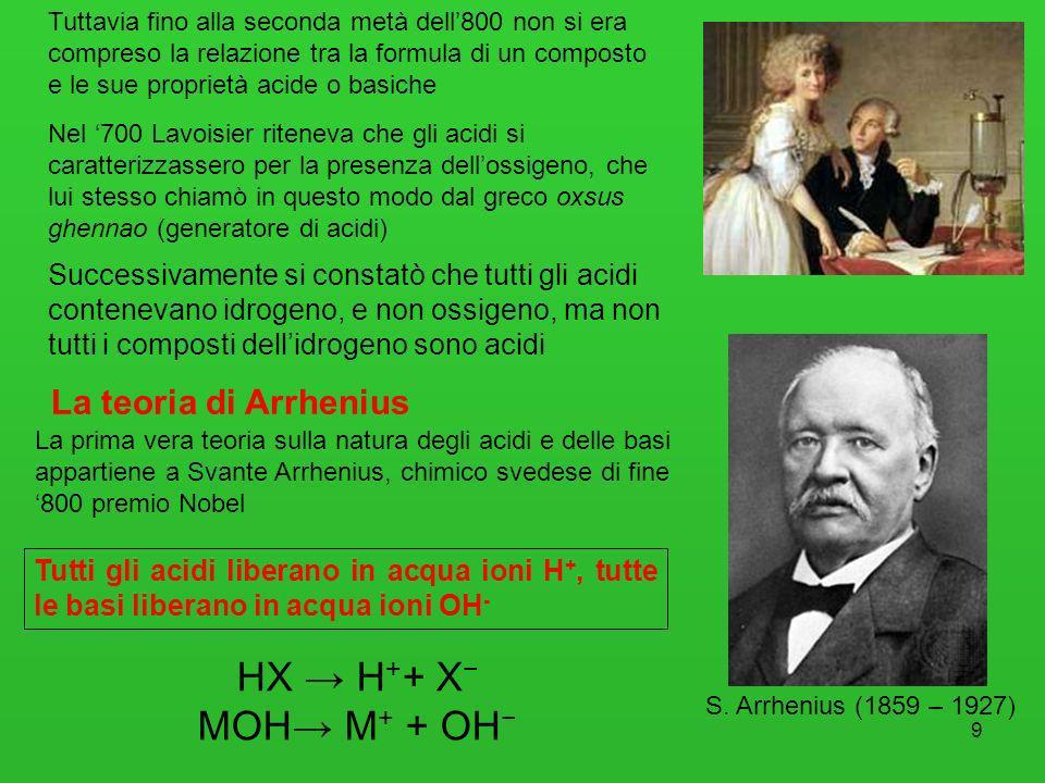 9 Nel 700 Lavoisier riteneva che gli acidi si caratterizzassero per la presenza dellossigeno, che lui stesso chiamò in questo modo dal greco oxsus ghe