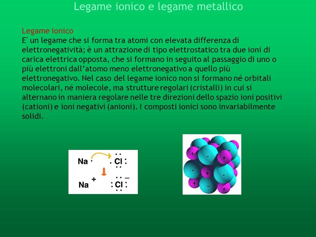 Legame ionico e legame metallico Legame ionico E' un legame che si forma tra atomi con elevata differenza di elettronegatività; è un attrazione di tip