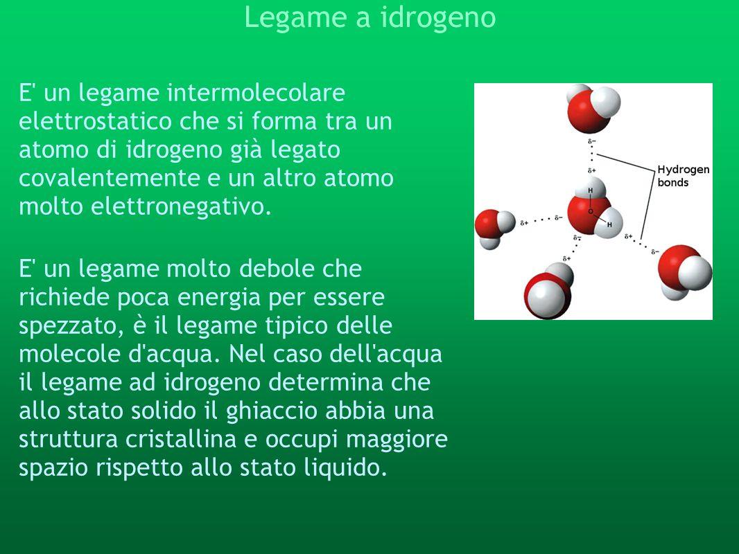 Legame a idrogeno E' un legame intermolecolare elettrostatico che si forma tra un atomo di idrogeno già legato covalentemente e un altro atomo molto e