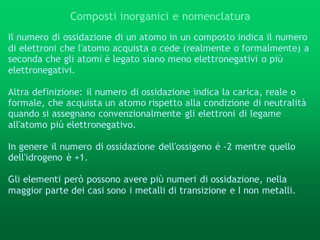 Composti inorganici e nomenclatura Il numero di ossidazione di un atomo in un composto indica il numero di elettroni che l'atomo acquista o cede (real