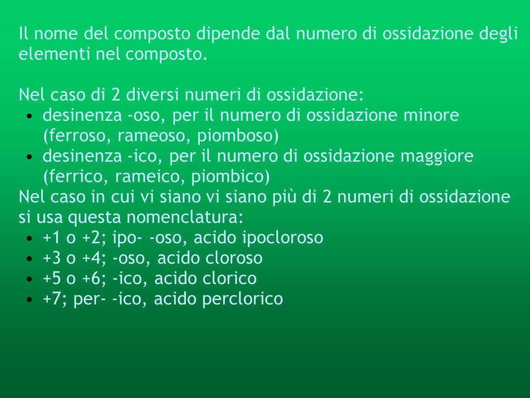 Il nome del composto dipende dal numero di ossidazione degli elementi nel composto. Nel caso di 2 diversi numeri di ossidazione: desinenza -oso, per i