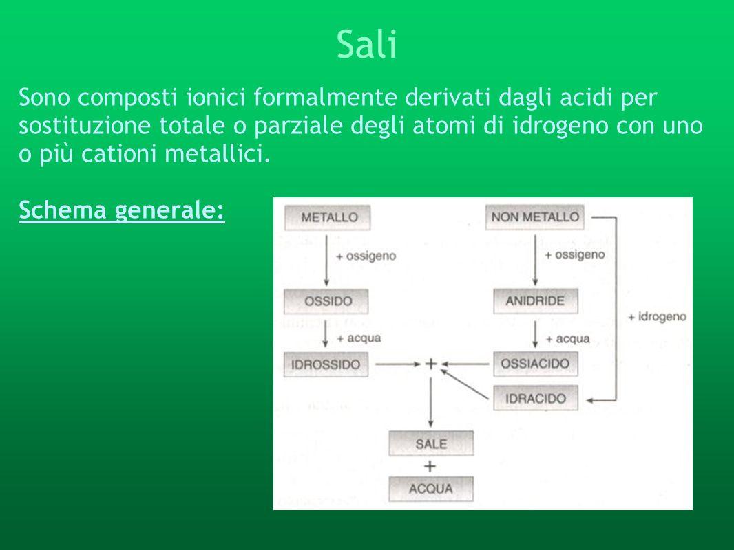 Sali Sono composti ionici formalmente derivati dagli acidi per sostituzione totale o parziale degli atomi di idrogeno con uno o più cationi metallici.
